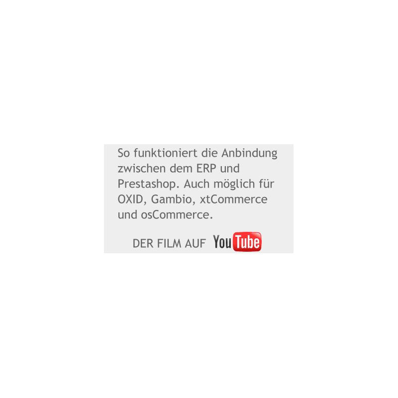 Demofilm Comatic ERP mit Shoco Schnittstelle zu Prestashop