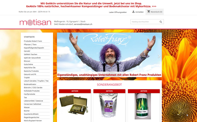 Webshop Motisan.ch created by shopsolute.ch